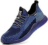 Zapatos de Seguridad para Hombres Zapatos de Acero con Punta de Seguridad,Zapatillas Deportivas Ligeras e Industriales Transpirables, 605 Blue 40