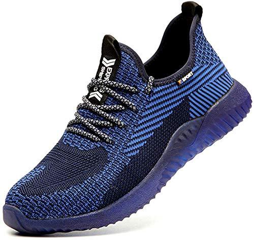 Zapatos de Seguridad para Hombres Zapatos de Acero con Punta de Seguridad,Zapatillas Deportivas Ligeras e Industriales Transpirables, 605 Blue 44