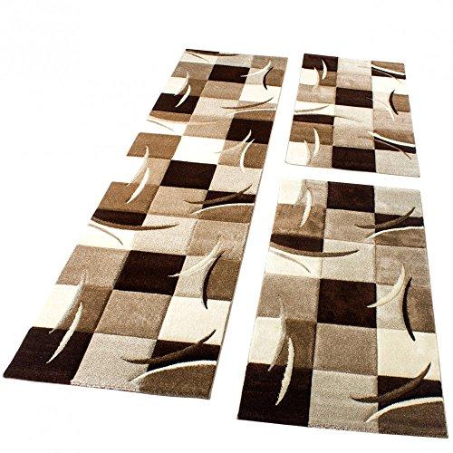 Bettumrandung Läufer Teppich Modern Karo Braun Creme Beige Läuferset 3 Tlg., Grösse:2mal 80x150 1mal 80x300