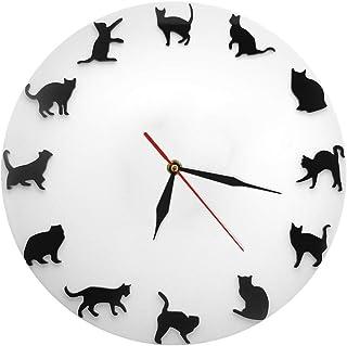 セイコー クロック 掛け時計 DIYのミュートの壁時計クリエイティブ猫の腕時計と時計衣料品店カフェホームデコレーションギフト(電池なし) 電波時計