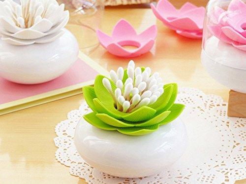 Fengh Creative Fleur de Lotus Porte Cure-Dents étui Coton Swab Bud Boîte de Rangement (Vert)