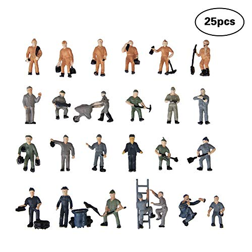 Ouken 25 PC Arbeiter Modellbahn Sand Tabelle Modell Gleis Bahnarbeiter Menschen Figuren mit Leiter und Eimer