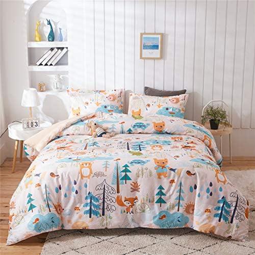 Holawakaka Kids Forest Comforter Set Queen Size Boys Girls Cute Cartoon Woodlands Bedding Sets product image