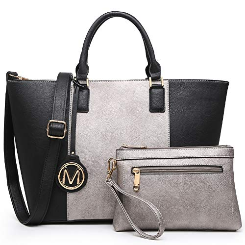 Marco M Kelly Women Fashion Large Satchel Tote Handbags with Wallet Designer Purse with Wallet for Ladies (Petwer/Black)
