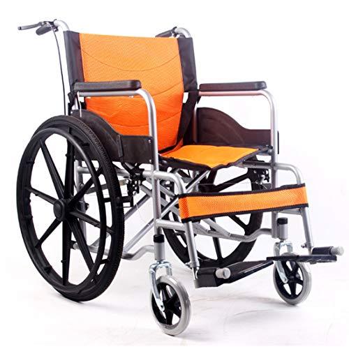 MUYU Faltrollstuhl Reiserollstuhl Mit Bremse Manueller Rollstuhl Sitzbreite 68 cm 60cm Hinterrad,Orange