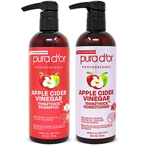 PURA D'OR Apple Cider Vinegar Thin2Thick Set Shampoo Conditioner for Regrowth, Hair Loss, Clarifying, Detox (2 x 16oz) Biotin, Keratin, Caffeine, Castor Oil, All Hair Type, Men/Women, Packaging varies
