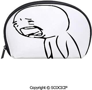 SCOCICI Polyester Printed Cosmetic Bag Storage Bag Sad Guy Upset Crying Popular Rage Comic Generator Style Online Emoji Print Makeup Bag Toiletry Pouch