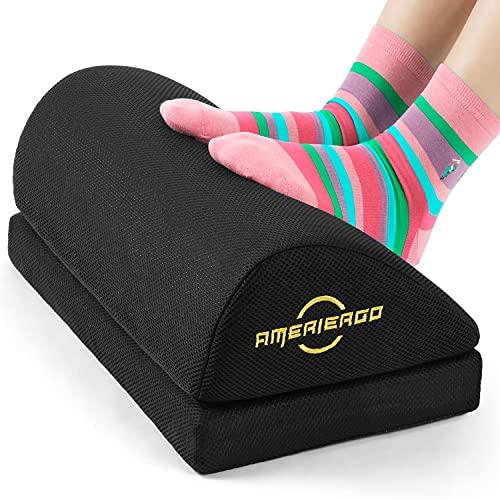 AMERIERGO Adjustable Foot Rest - Office Under Desk Foot Rest with 2 Adjustable Heights, Ergonomic Foot Rest with Non-Slip Bottom, Foot Rest Cushion with Mesh Breathable Washable Cover