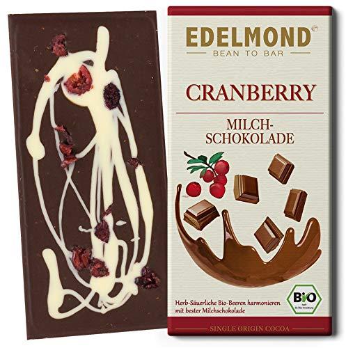 Edelmond Cranberry Milchschokolade Bio Cranberrys darin und darauf. Dekoriert mit weißer Schokolade. Die Geschenk-Idee aus Fair-Trade Kakao. (1 Tafel)