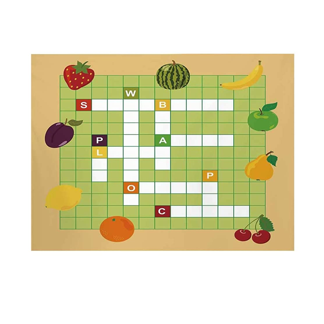 Word Search Puzzle Photography Background,Vivid Graphic Summer Fruits with Educational Crossword Game for Kids Decorative Backdrop for Studio,10x6ft