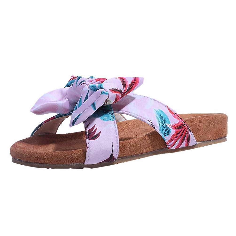 Gibobby Slippers for Women Wide Width,Summer Bow Flat Sandals Anti-Slip Casual Summer Beach Thong Slipper