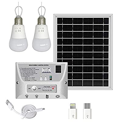 YINGHAO Solar Lights Indoor Home with 2 Hanging LED Bulbs, 5.5W Solar Panel, Cell Phone Charger, 5000mAh Lithium Battery, Outdoor Waterproof Solar Lights for Garden, Yard, Camping, Shed, Barn, Garage