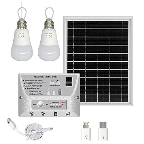 YINGHAO Solar Light Indoor Home with Switches 2 Hanging LED Bulbs, 5.5W Solar Panel, Cell Phone Charger, 5000mAh Lithium Battery, 33FT Cord Solar Pendant Light System for Shed, Barn, Garden, Camping