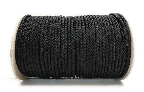 Viva Nature 50m Rolle 4 mm Polypropylen-Seil PP-Seil Flechtleine Reepschnur Tau-Werk Festmacher Schnur Universalseil Kordel (schwarz)