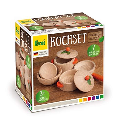 Hochwertiges Kochset mit großem Topf inkl. Decke, kleinem Topf inkl. Deckel, Pfanne, große Schüssel, kleine Schüssel – aus Holz zum spielen
