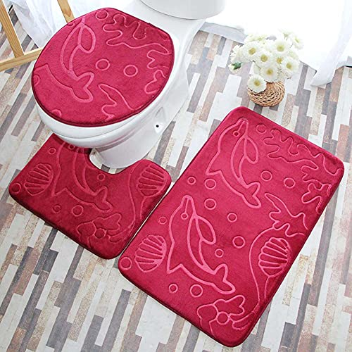 ETOPARS 3er-Set weich absorbierender Memory-Schaum-Badeteppich, Rutschfester Badteppich, U-förmiger Konturenteppich und Toilettendeckelabdeckung,