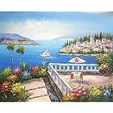 Pintura por números para adultos, niños, puerto, paisaje, pintura al óleo, dibujo pintado a mano sobre lienzo, decoración del hogar, regalo A15 30x40cm