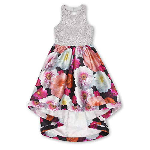 Speechless Big Girls Party Dress with Lace Bodice and Printed High-Low Skirt, Floral Multi, 7