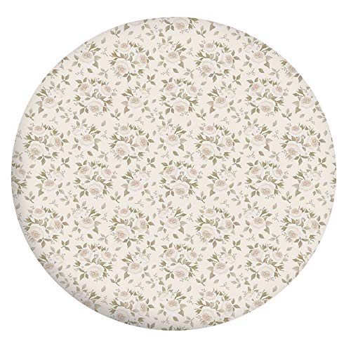 Mantel ajustable de poliéster con bordes elásticos, diseño de pétalos de rosas florecidos, esencia elegancia, diseño clásico, para mesas redondas de 45 a 48 pulgadas, para comedor o cocina