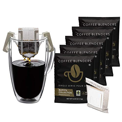 Pour Over Coffee Single Serve| Portable Drip Coffee Packets| Premium Ground Coffee Medium Roast Drip Bags| Single Origin Rwandan Fair Trade Specialty Coffee| 5 Coffee Singles Pouches|Coffee Blenders
