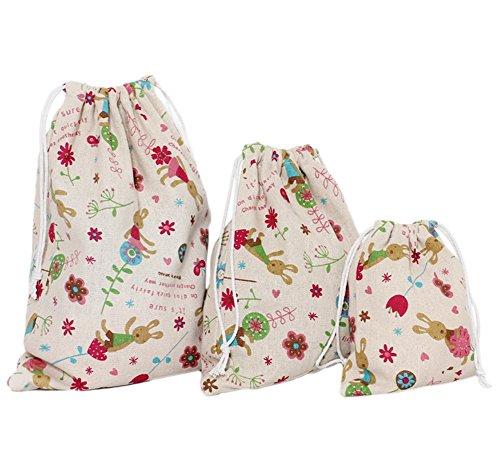 Kentop 3X sacca da viaggio Coniglio stampata di Cotone e Lino Sacchetti di tè Sacchetti cordato portaoggetti di La biancheria Sacchetti di finitura