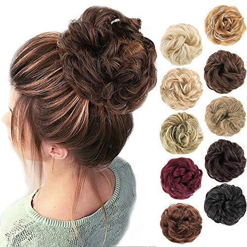 MORICA 1PCS Messy Hair Bun Hair Scrunchies Extension Curly Wavy Messy Synthetic Chignon for women Updo Hairpiece(Color:4/30#)