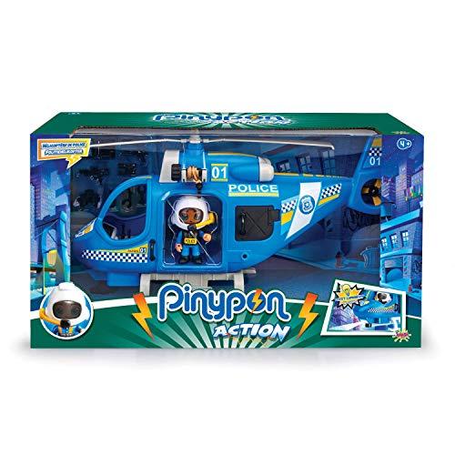 Pinypon Action - Helicóptero de policía con 1 Figura y Accesorios, para...