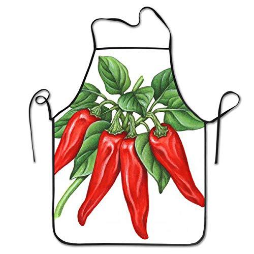 N\A Delantales de pimentón para Mujeres y Hombres, Delantal de Chef de Cocina, Delantal con Babero Ajustable para cocinar, porción - 20.4 'X 28.3'