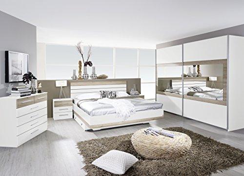 Rauch Schlafzimmer Komplettangebot Schwebetürenschrank 181 cm/Bett 180 x 200 cm / 2 x Nachtkonsole Alpinweiß-Eiche Sanremo