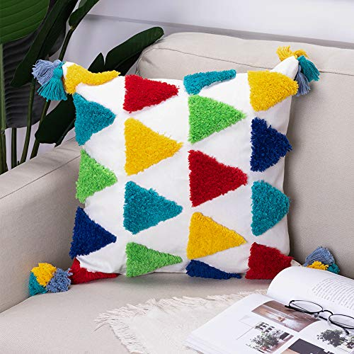 Colorful Tufted Decorative Kid Throw Pillow Cover Cute Fun Children Pillow Cover with Tassel for Playroom Nursery Teepee Reading Nook Couch Bedroom, 18 X 18 Inch Square Boho Pillow Case Home Decor