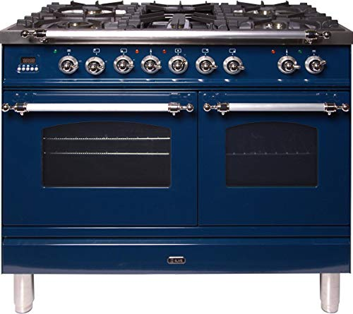 Ilve UPDN100FDMPBLXLP 40″ Nostalgie Series Dual Fuel Liquid Propane Range with 5 Sealed Brass Burners 3.55 cu. ft. Total Capacity True Convection Oven Griddle with Chrome Trim in Blue