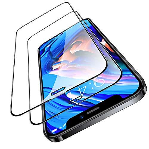 TORRAS 全面保護 iPhone 12 mini 用 ガラスフィルム 2枚入り ガイド枠付き 強化ガラス 三倍強化黒縁 フルカバー 液晶保護 耐衝撃 9H 高透過 ヒビ割れ防止 2020 5.4インチ用 アイフォン 12 mini用