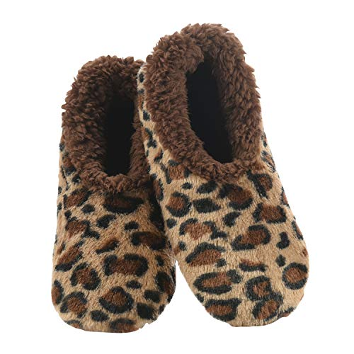 Snoozies Womes Brown Leopard Animal Fur Size Large