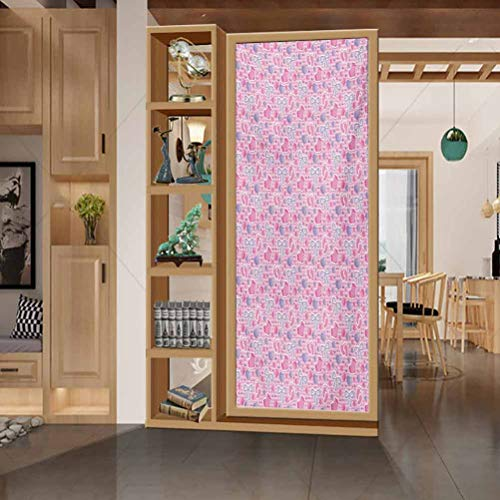 Glass Window Film No Glue Privacy Window Cling, Baby Bows and Bootes Buttons Ribbon Infant Elements Birthday Them, Bathroom Office Meeting Room Living Room Window Membrane, 17.7
