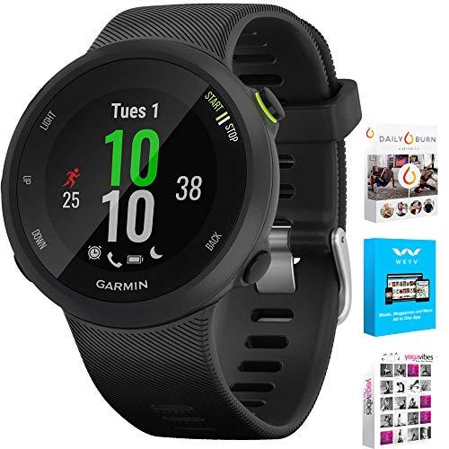 Garmin 010-N2156-05 Forerunner 45 GPS Heart Rate Monitor Running Smartwatch (Black) - (Renewed) Bundle with Fitness & Wellness Suite (WEYV, Yoga Vibes, Daily Burn)