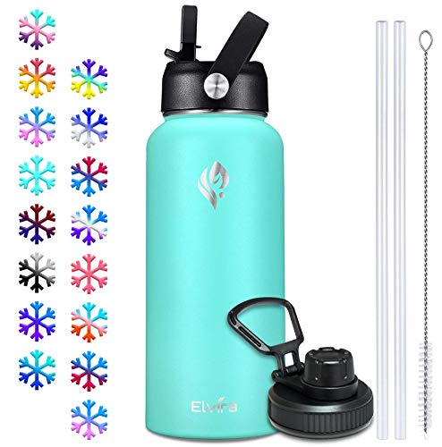 Elvira 32oz Vacuum Insulated Stainless Steel Water Bottle with Straw Spout Lids Double Wall Sweat-proof BPA Free to Keep Beverages Cold For 24 Hrs or Hot For 12 Hrs-Mint Green