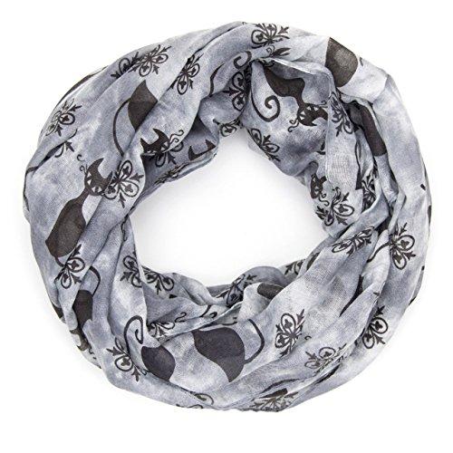 MANUMAR Loop-Schal für Damen | Hals-Tuch in grau schwarz mit Katzen Motiv als perfektes Herbst Winter Accessoire | Schlauchschal | Damen-Schal | Rundschal | Geschenkidee für Frauen und Mädchen
