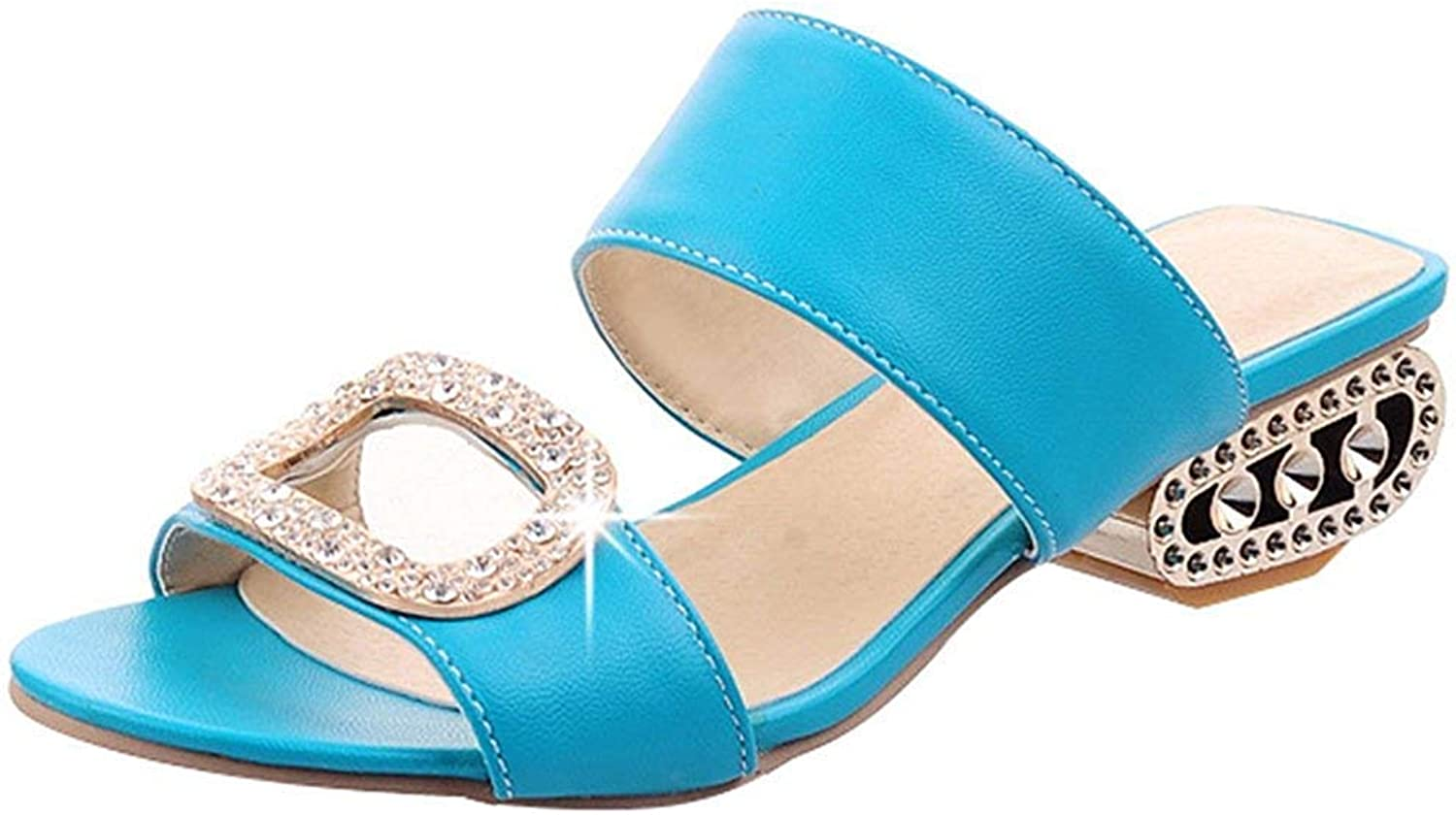 Gcanwea Women's Comfy Rhinestone Open Toe Clogs shoes - Solid color Strappy Buckle - Block Low Heel Slide On Sandals bluee 4 M US