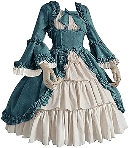 Lolita vestido de corte gtico patchwork arco plisado renacentista retro tnica cruz princesa falda, Azul / Patchwork, 4X-Large
