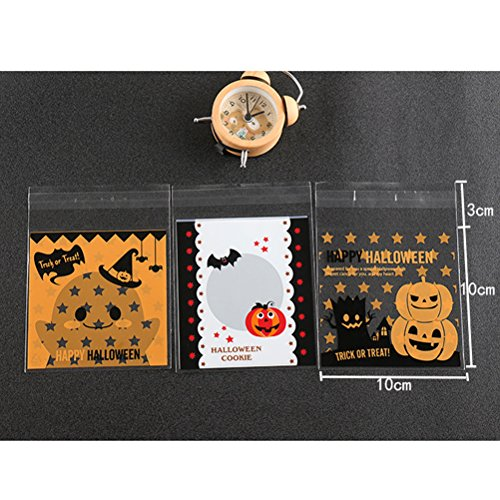 100pcs Candy Bags Plastic Unique Self Adhesive Creative Fashion Cellophane Bag di dolcetti per Halloween