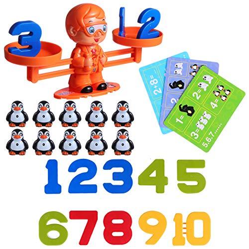 TOYANDONA - 1 Establecimiento de la báscula de juegos matemáticos para contar, pingüino, tarjeta número, tallo de aprendizaje, juguete para niños, edad de cumpleaños