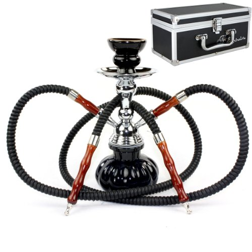 GSTAR 11' Premium 2 Hose Hookah Complete Set - Mini Pumpkin Hookah Glass Vase - Pick Your Color (Ninja Black + Case)