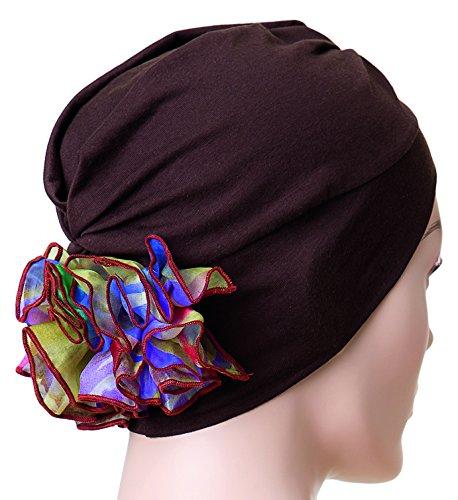 NJ creatie turban muts Diva Bordeaux bloem oranje/groen Chocolat Fleur Jaune/Violet