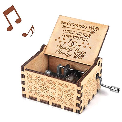 You are My Sunshine Music Box, Gift for Wife from Husband Vintage Wooden Hand Crank for Wedding Anniversary/Valentine's Day/Birthday (Wood)