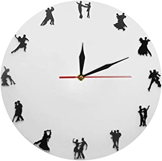 YJSMXYD Wall Clocks Couples Dance Waltz Iconic Clock Modern Tango Ballroom Dancing Wall Art for Dancer Gift Ideal for Any Room in Home Kitchen Office School
