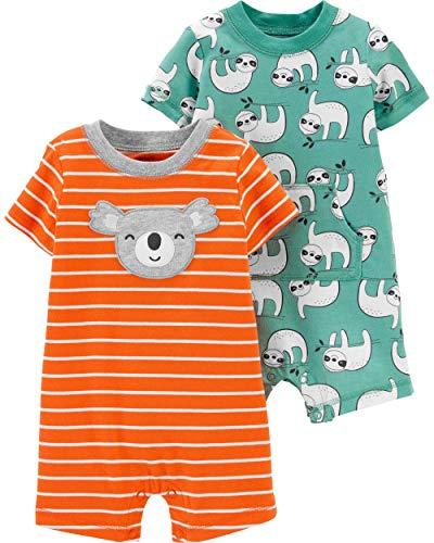 Carter's Baby Boy's 2 Pack Cotton Romper Creeper Set (Green Sloth/Orange Koala, 18 Months)