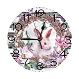 Reloj Pared Redondo Decorativo silencioso,Cuarzo Calidad Requiere 1 Pila AA Mariposas Huevos Conejito Floral Reloj PVC Colorido Ajuste Manual Tiempo cronómetros
