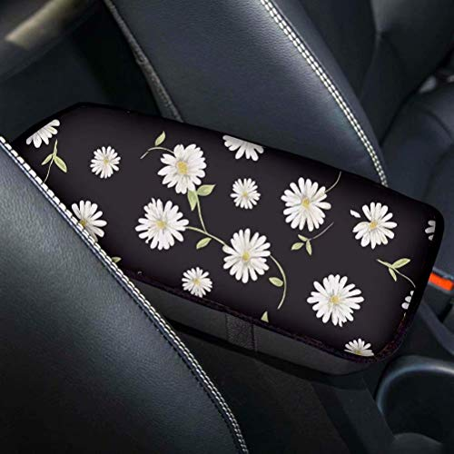 Summer Daisy Flower Center Console Lid for Car Armrest Box Cover Pad Protector Comfort Universal Fit