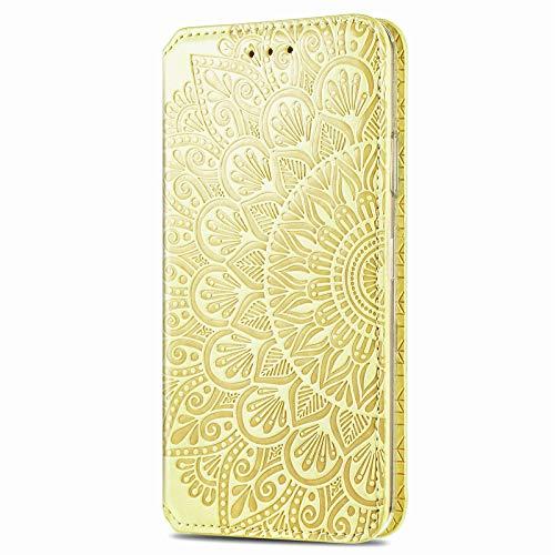 Unichthy Schutzhülle für Samsung Galaxy S30, leicht, 3D-Mandala, stoßfest, Klapphülle, PU-Leder, transparent, Silikon, Magnetverschluss, Kartenfächer, Ständer, Folio-Schutzhülle