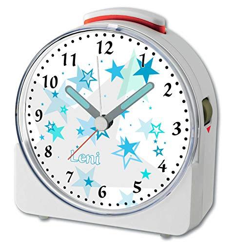 CreaDesign, WU-71-1030-13, Sterne Türkis, analog Kinderwecker weiß, Funkwecker mit Sweep-Uhrwerk und fluoreszierenden Zeiger und Licht, personlisiert mit Namen, 10,2 x 4,6 x 11 cm